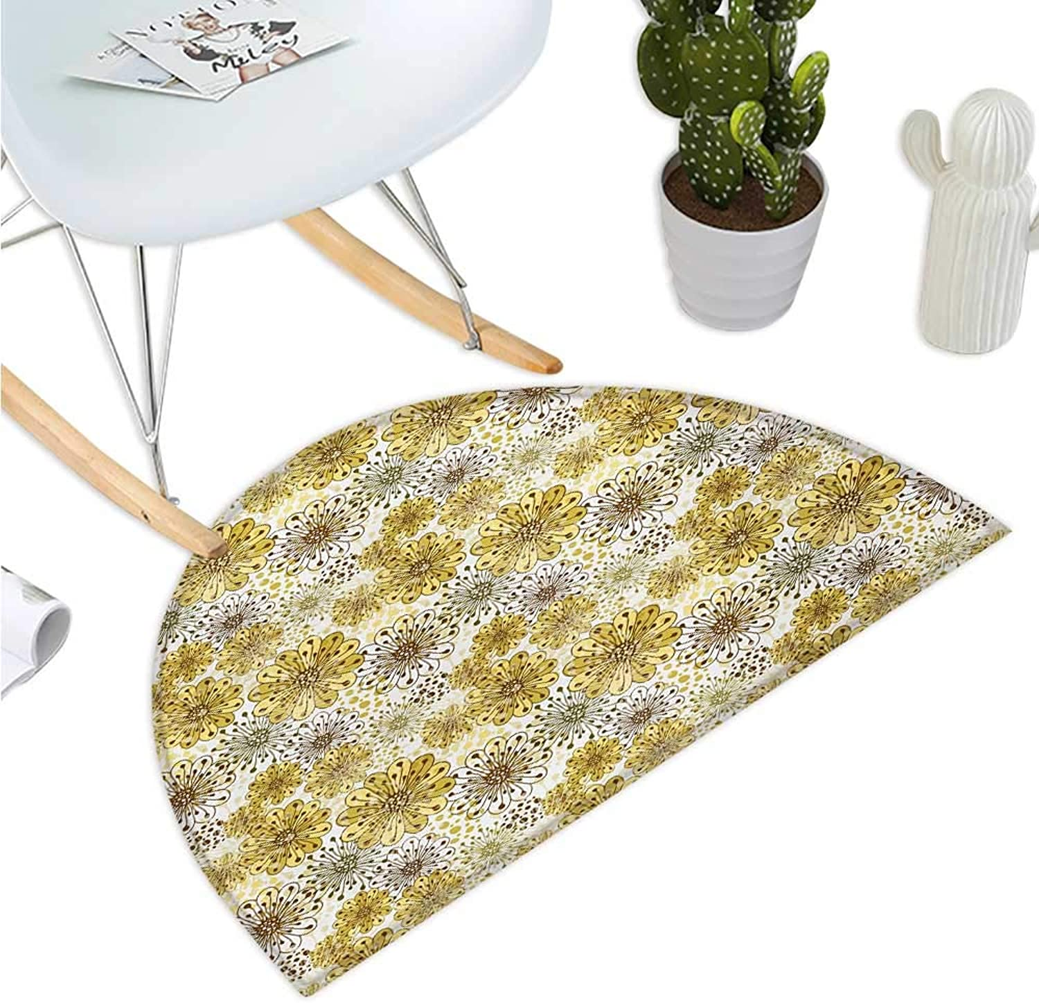 Floral Semicircular Cushion Cute Artistic Blossoms Petals Modern Dots Abstract Bedding Plants Gardening Entry Door Mat H 43.3  xD 64.9  Khaki Brown White