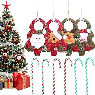 Christmas Tree Ornaments, 10 Pack Xmas Hanging Plush Tree Decoration and Christmas Candy Canes, Festive Season Christmas T...