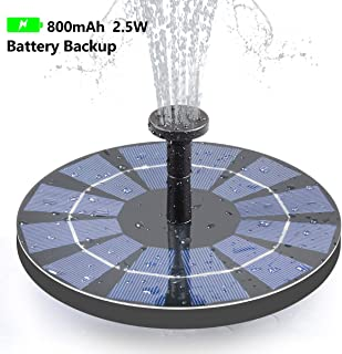 Tranmix Solar Fountain with Battery Backup, 2.5W Bird Bath Fountain Free Standing Solar Powered Fountain for Birdbath,Pond, Pool, Garden, Fish Tank