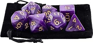 Kit 7 Dados RPG de Mesa D&D Opaco Perolado D4 D6 D8 D10 D10% D12 D20 Cor ROXO ROYAL + 1 Bolsa