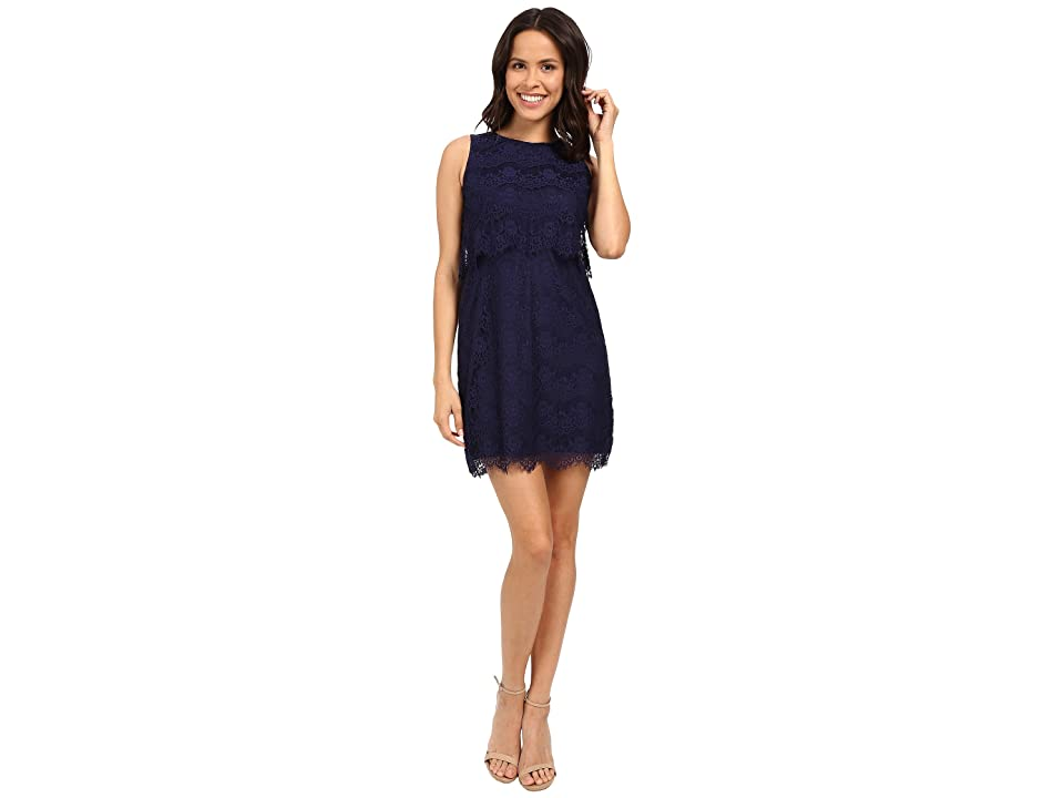 Jessica Simpson Lace Pop Over Dress JS6D8681 (Navy) Women