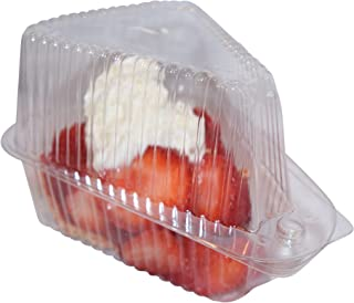 Hinged, Clear Single-Slice Pie / Cake / Cheesecake Container (High Dome Lid)- 20 Pieces