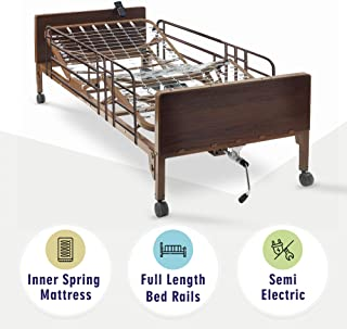 Semi Electric Hospital Bed with innerspring Mattress and Full Rails Included - for Home Care Use and Medical Facilities - Fully Adjustable, Easy Transport Casters, Remote - 80