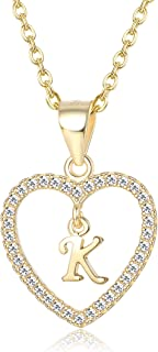 925 Sterling Silver Initial Heart Necklace Tiny Letter A-Z Alphabet Pendant CZ Love Necklace Women Jewelry