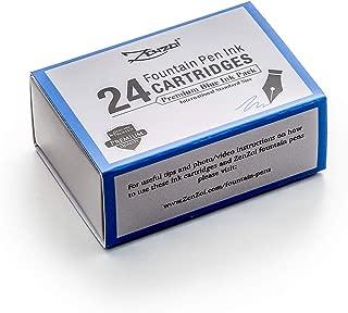Zenzoi Fountain Pen Ink Cartridge Refills- 24 Bulk Premium Blue Case- Professional Grade, International Size, Non-Toxic Ink- Smooth, Blotch-Free Writing for Luxury Pens – German Nibs