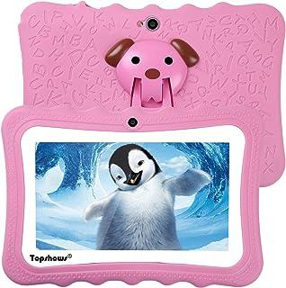 TOPSHOWS-X1 Tablet para Niños, 1GB RAM + 16GB ROM, Resolución de 1024*600 Píxeles, Soporte de Funda de Silicona,Facilitando Educación y Entretenimiento para Niños,Rosado