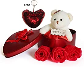 Yashvaid Heart Shape Gift Box with Teddy & Rose Free Heart Keychain