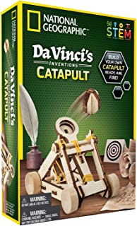 NATIONAL GEOGRAPHIC Construction Model Kit - Build Your Own Wooden Model of The Original Catapult, Learn About Da Vinci's Improved Designs, Cool Toys, Great Educational Science Kit