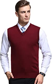 Mens Casual Slim Fit Solid Lightweight V-Neck Sweater Vest
