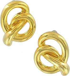 Pierced Earrings Gold Tone Swirl Pretzel Knot Twist Bold Statement 1