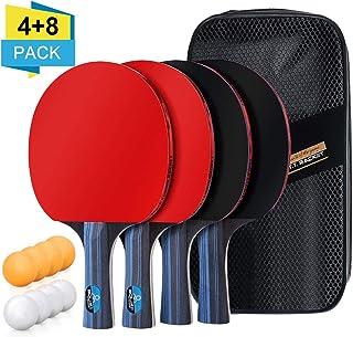 BHGWR Sets de Ping Pong, Sets de Raquetas de Tenis de Mesa 4 Palas Ping Pong y 8 Pelotas Ping Pong, Set Raqueta de Ping Pong en una Bolsa de Nylon Ideal para Actividades al Aire Libre en Interiores