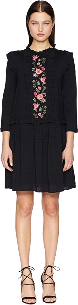 Broome Street Embroidered Mixed Media Dress