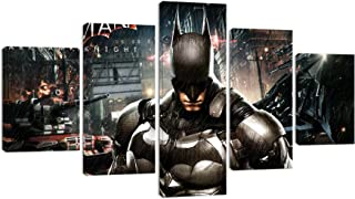 Batman Canvas Wall Art for Bedroom Home Decor Posters and Prints Modern Movie Character Painting Pictures Decoration for Living Room Bathroom Framed Ready to Hang 5 Piece(60''W x 32''H)
