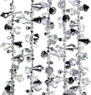Klikel Iridescent Silver Large Twinkle Ice Double Twist Bead Garland, Set of 2