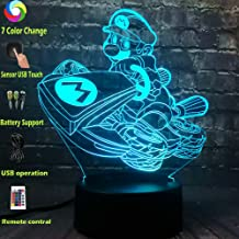 Classic Game of Figure Super Racing Bicycle Mario 3D Acrylic LED Night Light Desk Table Lamp USB Battery Power Change Novelty Christmas Toy Boy Gift Party Mood RGB Lava(Flying Mario)