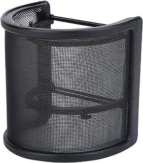 マイクポップガード マイクフィルタ ウインドスクリーン U型 二重ネット層 弾性ゴムバンド付き 録音 ノイズ防止 ブラック