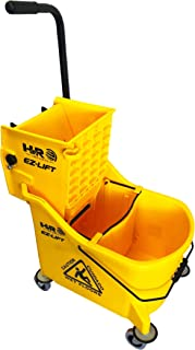 Hero EZ-Lift Dual Cavity Commercial Mop Bucket with Wringer on Wheels, Includes Dirty Water Bucket (36-Quart | 9 Gallon Cleaning Bucket)
