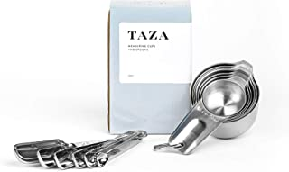 Measuring Cups and Spoons Set by Taza Kitchenware - 13 Piece Stainless Steel Metal Durable Stackable Compact Easy Scoop Cups and Spoons