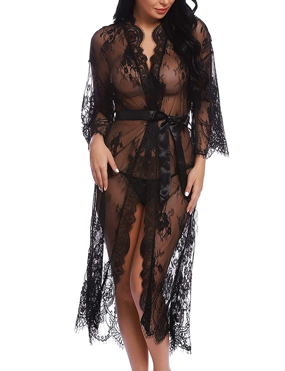 RSLOVE Lingerie for Women Sexy Long Lace Kimono Robe Eyelash Babydoll Sheer Cover Up Dress with Satin Belt