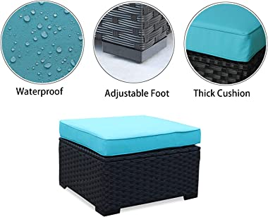 Patio PE Rattan Wicker Ottoman Seat Outdoor Footrest with Water Resistant Turquoise Cushions-Set of 2, Black PE Rattan