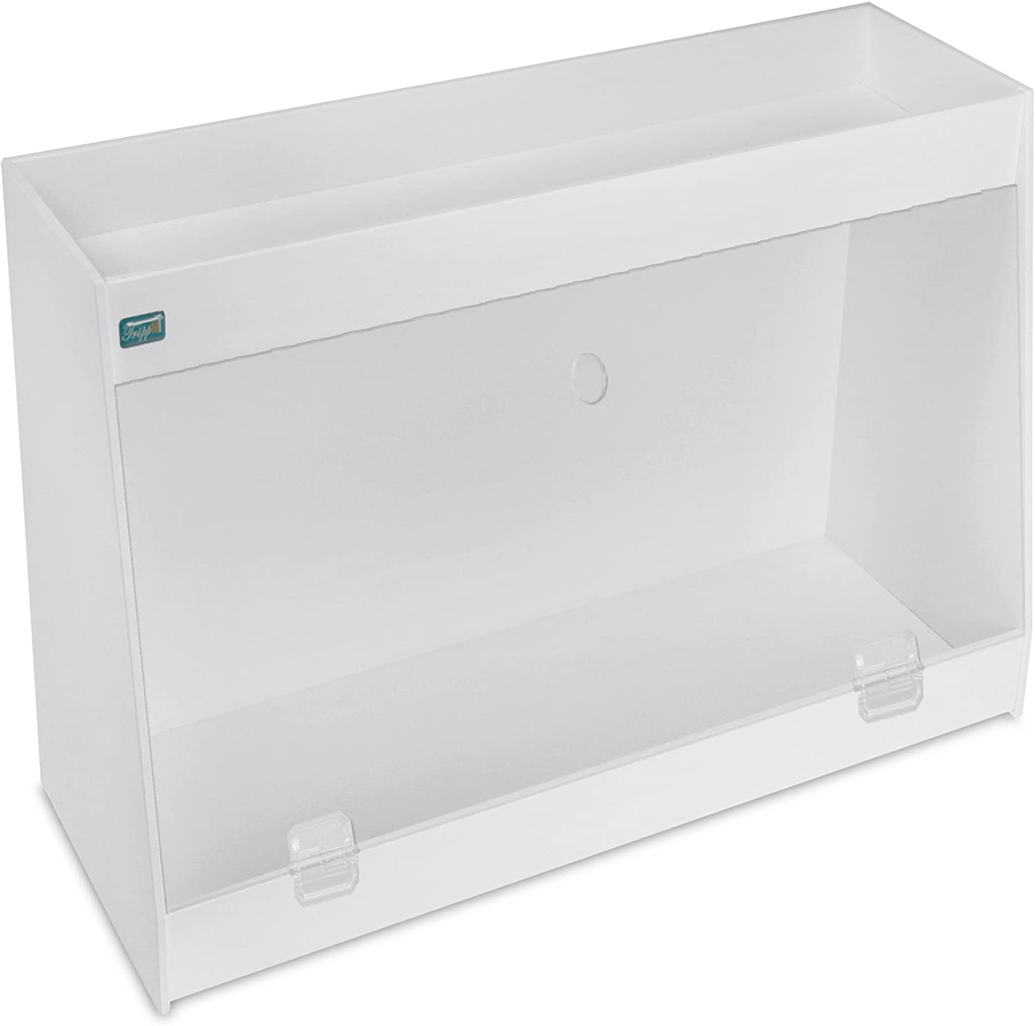 TrippNT 50606 PVC Angled Double Safety Shelves with Clear Door, 24-Inch Width x 16-Inch Height x 9-Inch Depth, Clear White