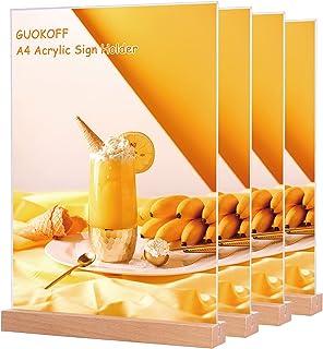 GUOKOFF Présentoir de Table A4 (4 Pièces), Support pour Menu, Support de Présentation, A4 Porte Menu Transparent Acryliqu...