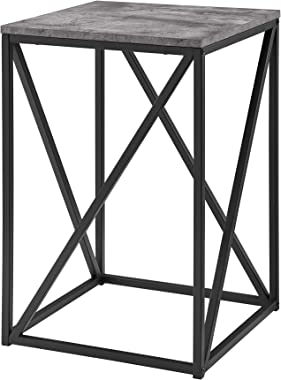 Walker Edison Furniture Company Modern Geometric Metal Square Side Accent Living Room Storage Small End Table, 16 Inch, Dark