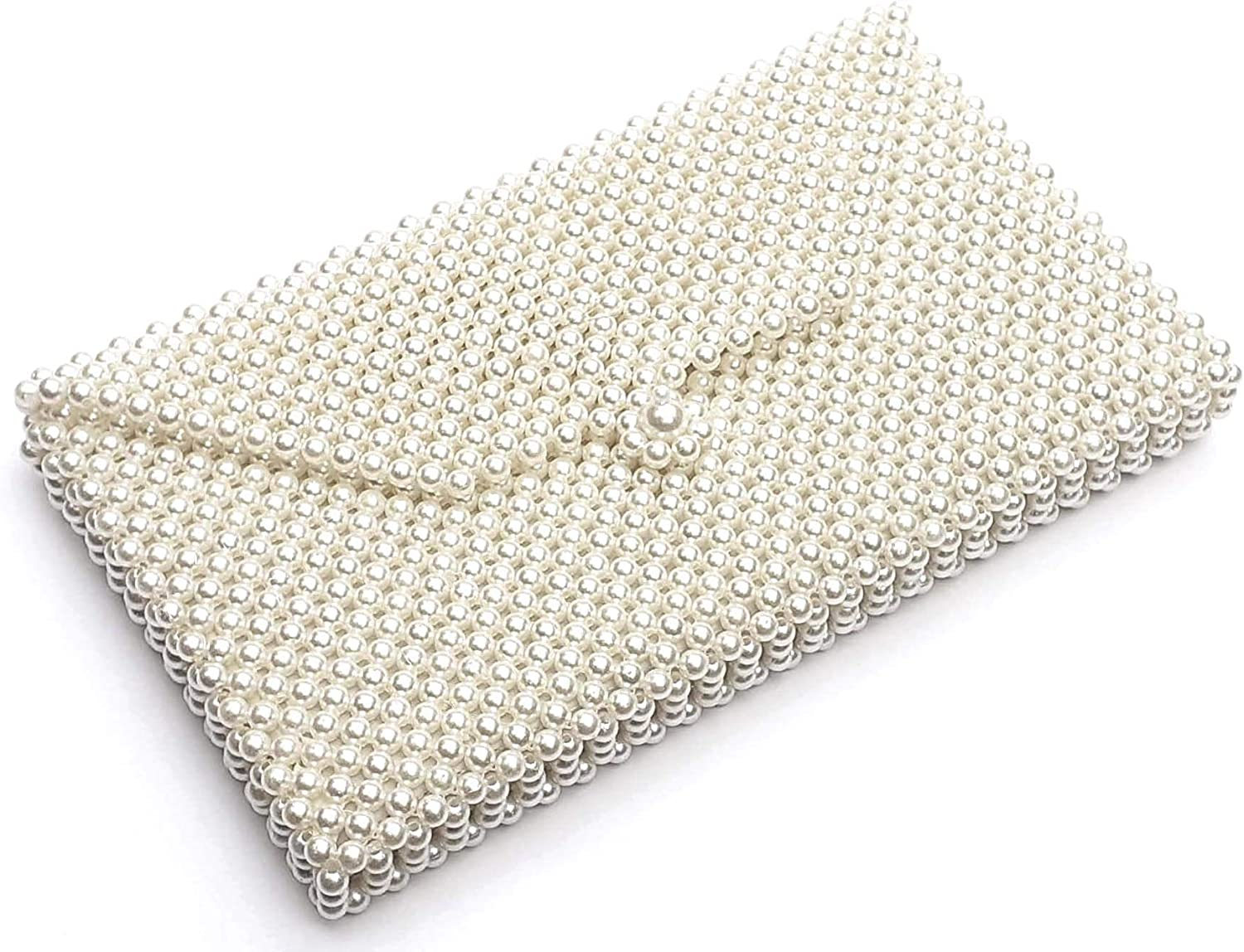 PathakCreation Women's Pearl Beaded Party Hand Clutches Purse (Off White)