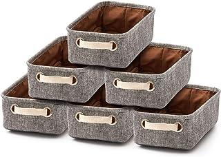 EZOWare Petit Boîte de Rangement Pliable en Tissu Lin avec Poignées, Panier de Rangement pour Salle de Bain, Cuisine, Cham...
