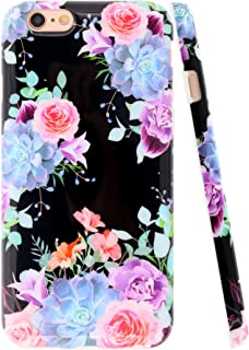 A-Focus Case for iPhone 6s Case Black Flower, iPhone 6 Case, Rose Floral Frosted IMD Design Series Protective Slim Fit Flexible TPU Case for iPhone 6 iPhone 6s 4.7 inch Glossy Flower Purple