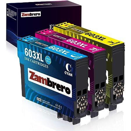 Zambrero 603 XL Couleur Cartouche d'encre compatible pour Epson 603 603XL avec Epson Workforce WF-2810 WF-2850 WF-2830 WF-2835, Expression Home XP-2100 XP-3100 XP-4105 XP-2105 XP-4100 XP-3105 (C/M/Y)