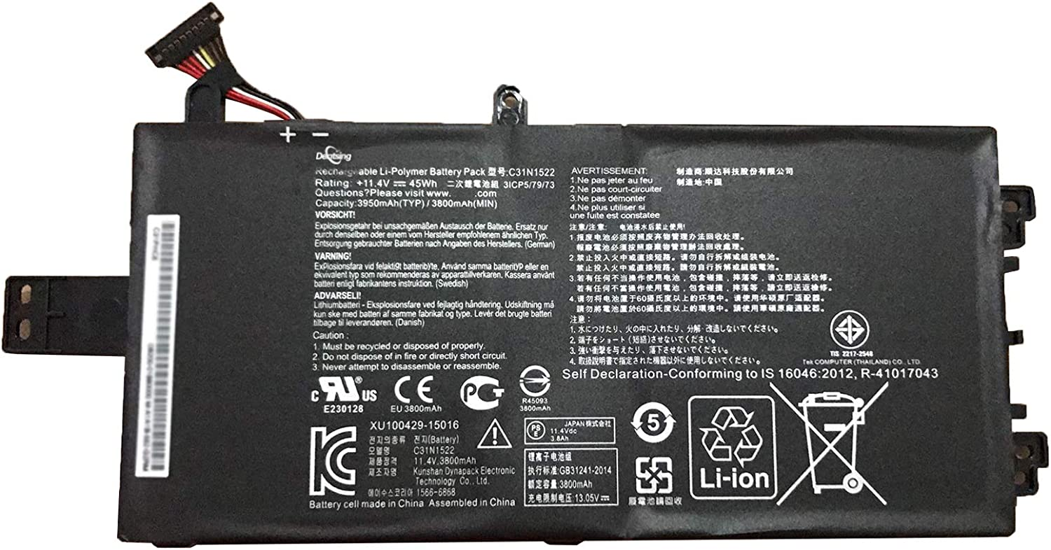 Dentsing 11.4V 45Wh 3950mAh Max 63% OFF C31N1522 w Compatible Battery Laptop Popular brand in the world