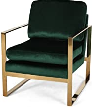 Christopher Knight Home Henry Modern Glam Arm Chair with Velvet Cushions, Emerald and Rose Gold Finish