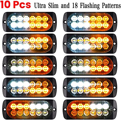 wholesale Luixxuer 10pcs Emergency Strobe Lamps 12-LED Surface online sale Mount Flashing Lights for high quality Truck Car Vehicle Waterproof LED Emergency Beacon Hazard Warning light 12V-24V Universal Car Accessories(Amber/White) outlet online sale