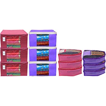 Heart Home Non Woven 6 Pieces Saree Cover/Cloth Wardrobe Organizer and 6 Pieces Blouse Cover Combo Set (Pink & Purple) HEART3216