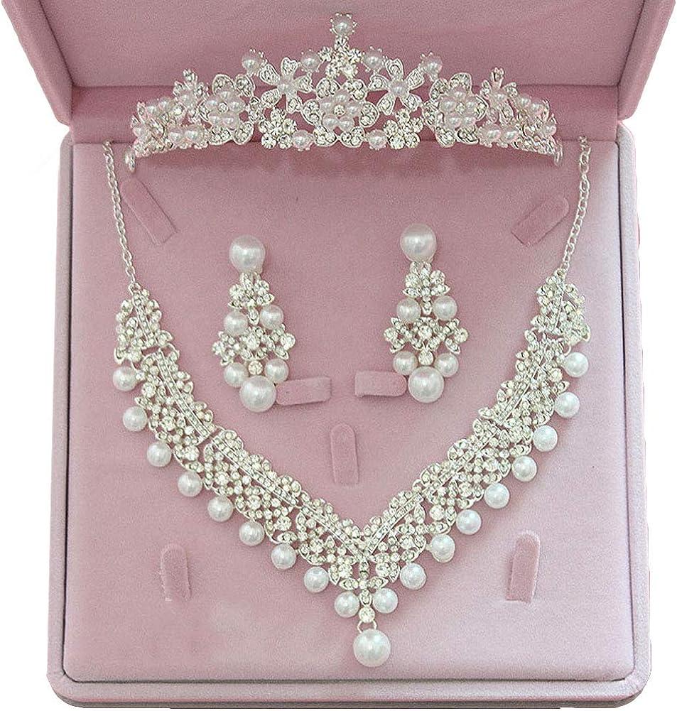 Elegant Women's Jewelry Set,Faux Pearl Rhinestone Pendant Necklace Earrings Crown Tiara Jewelry Set - Clip Earrings