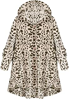 Opinionated Hooded Faux Fur Leopard Coats for Women Long Teddy Bear Jacket Button Fluffy Pullover Loose Sweater