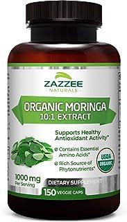 Zazzee USDA Organic Moringa Extract, 150 Count, Vegan, 10,000 mg Strength per Serving, Potent 10:1 Extract, USDA Certified...