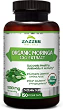 Zazzee USDA Organic Moringa Extract, 150 Count, Vegan, 10,000 mg Strength per Serving, Potent 10:1 Extract, USDA Certified Organic, Non-GMO and All-Natural