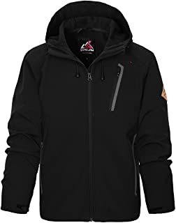 svacuam Men's Water Resistant Lightweight Soft Shell Jacket with Hood for Outdoor Hiking