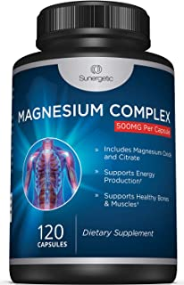 Premium Magnesium Citrate Capsules – Powerful 500mg Magnesium Oxide & Citrate Supplement – Helps Support Healthy Bones, Muscles, Teeth, Energy & Relaxation – 120 Vegetable Capsules