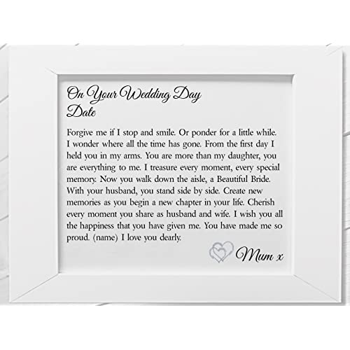 Daughter on Your Wedding Day from Mum Framed Personalised Poem. Details required. (White
