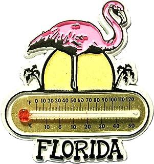 Florida with Pink Flamingo Thermometer Fridge Magnet