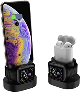 LiuXing Accessories Compatible with Apple Watch Charger Stand with iPhone Stand Airpods Charging Dock Stand for iPhone X/XS/XR/8/7/6s/Plus iWatch 4/3/2/1 (Black Slicone)