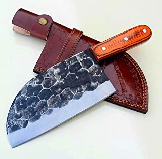Handmade forged Carbon Steel butcher Serbian Cleaver Chopper Kitchen Chef Knife Pakka Wood Handle comes with Leather Sheat...