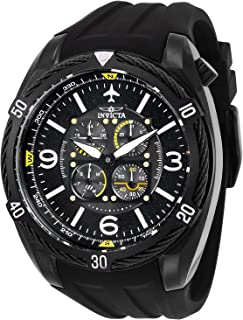 Men's Aviator Stainless Steel Quartz Silicone Strap, Black, 32 Casual Watch (Model: 28078)