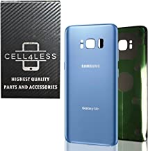 CELL4LESS Replacement Back Glass Cover Back Battery Door w/Pre-Installed Adhesive for Samsung Galaxy S8 Plus OEM - All Models G955 All Carriers- 2 Logo - OEM Replacement (Coral Blue)