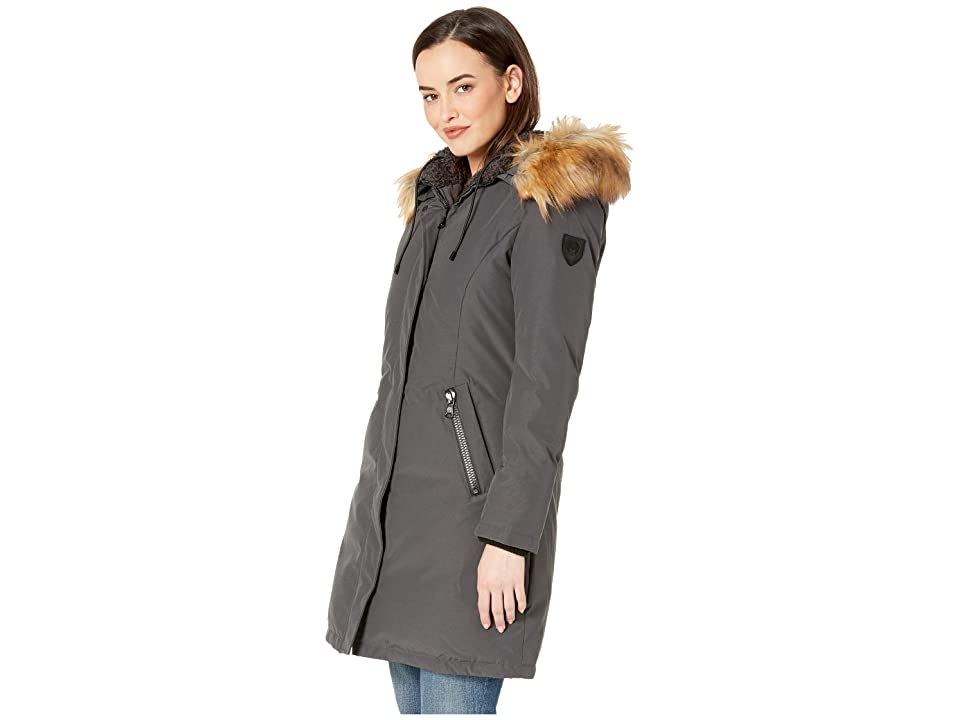 Vince Camuto Long Heavy Weight Down Coat with Sherpa Hood and Faux Fur Trim R1661 (Smoke) Women's Coat, Gray