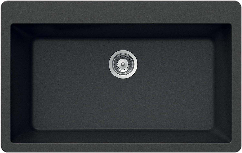 Houzer V-100 MIDNITE Quartztone Series Granite S All items free Max 58% OFF shipping Mount Top Large