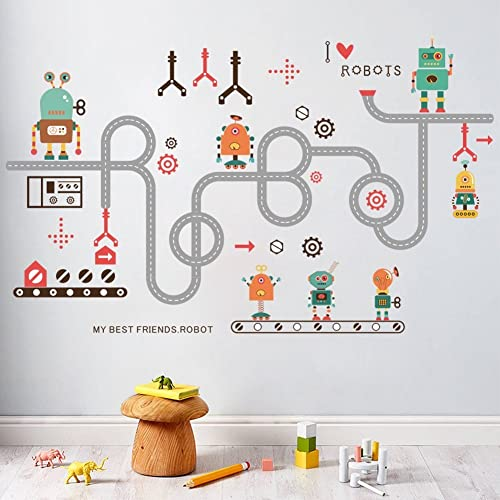 LiveGallery Removabele Transports And Roads Kids Wall Decals Wall Stickers  DIY Curved Road Robot Wall Decal